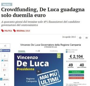 I media hanno subito colto i risultati contenuti del crowdfunding digitale